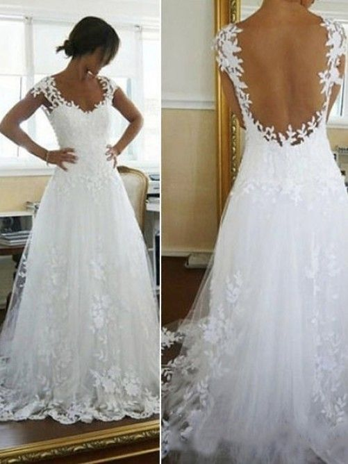 A-line/Princess Scoop Applique Chapel Train Lace Wedding Dress