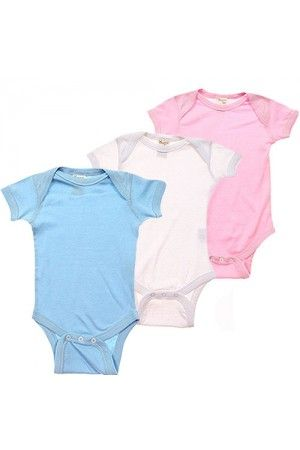 Baby 100% Organic Cotton Light Weight Bodysuit BB01205 in Blue, Pink, White