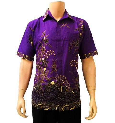 kemeja batik ungu
