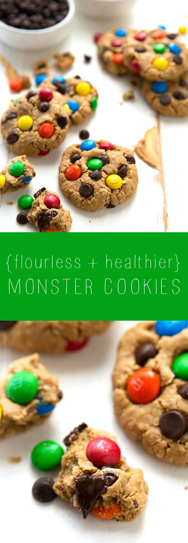 Simple healthier and flourless monster cookies - no flour or butter!