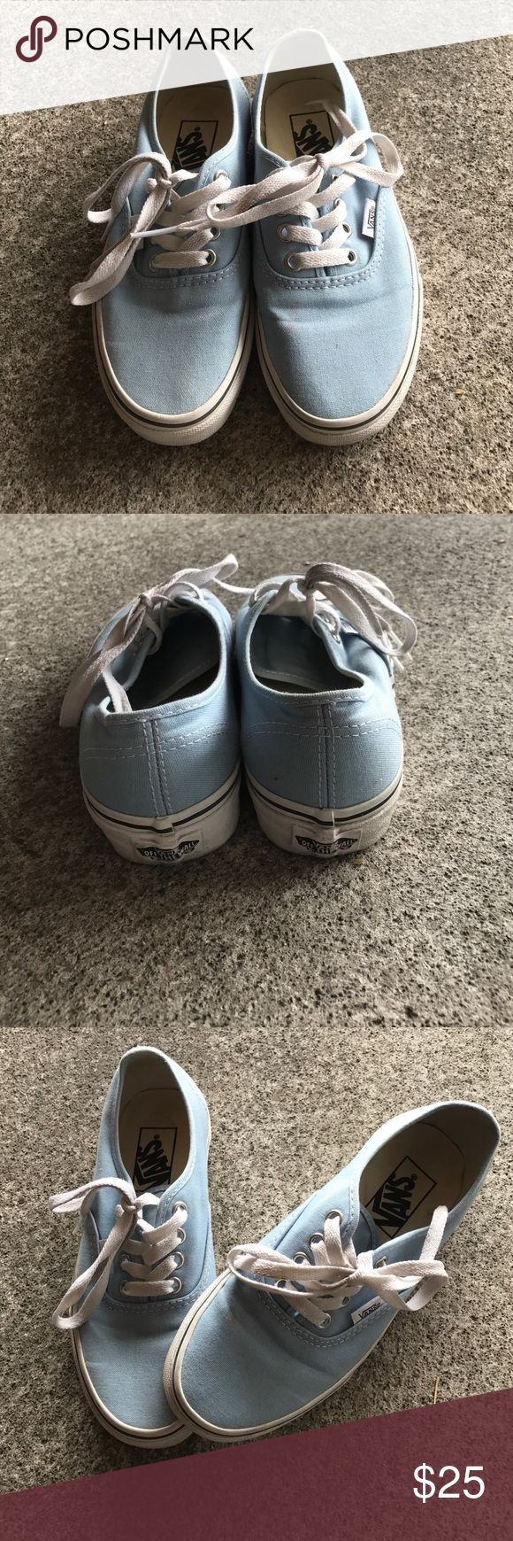 Light blue vans. Small pink stain on left shoe Light blue authentic classic vans. Little pink stain on the left shoe. Vans Shoes Sneakers