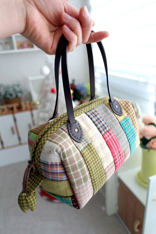 Patchwork Boston Bag. Photo Sewing Tutorial. Step by step DIY.