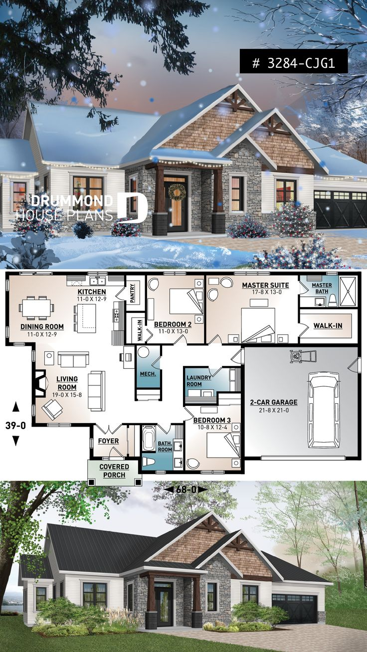 3 bedroom home plan, 9′ ceiling, large master suite, open layout, pantry, fireplace, laundry room
