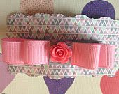 Large Double Bow Grosgrain Ribbon Pink Grey Polka Dot Rose  Available on Etsy