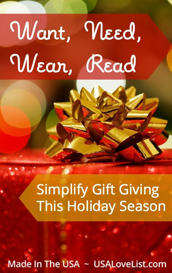 Want, need, wear, read   Simplify gift giving   Gift ideas   'Tis the season   Pinterest   Gift ...