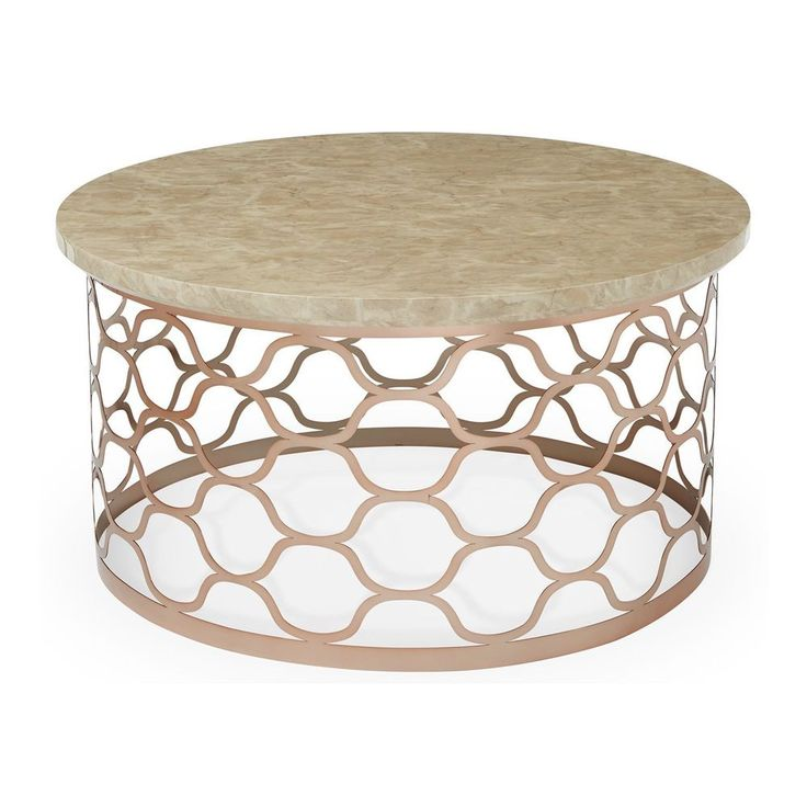 Marble Coffee Table Ebay Uk: Marble Round Coffee Table Beige Color Rose Gold Metal Base