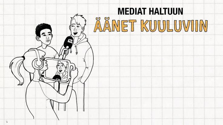Video: Piirretyssä kuvassa yksi kuvaa tabletilla, toinen haastattelee ja kolmas vastaa haastateltavan kysymyksiin.