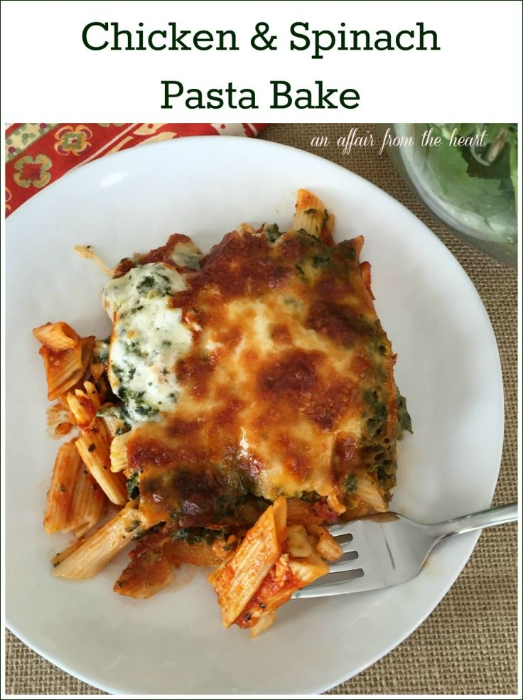 Chicken & Spinach Pasta Bake -- Fiber rich penne pasta tossed with chicken and pasta sauce, then baked to perfection with organic cheeses and spinach. @horizonorganic by An Affair from the Heart
