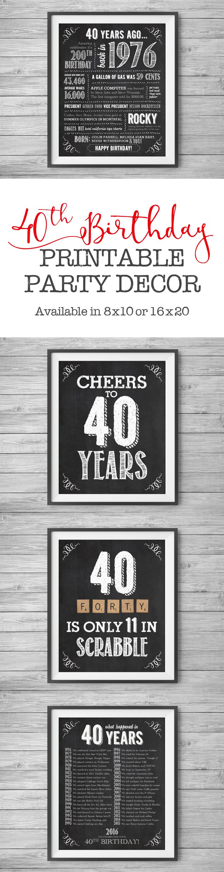 #40th Birthday, Printable Party Decor Supplies, 4 Unique 8x10 Signs, Instant Digital Downloads, DIY Print at Home by #NviteCP