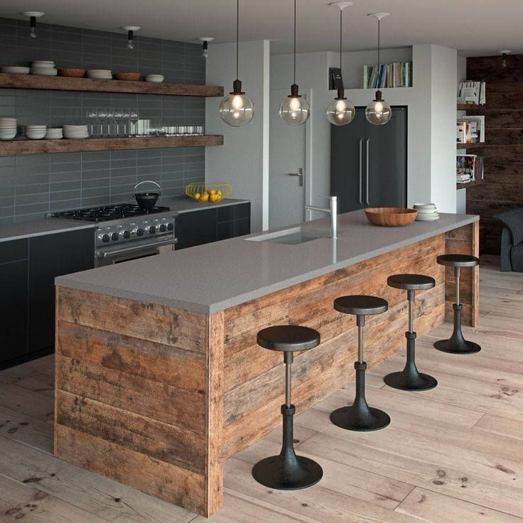Agrega un toque industrial  a cualquier cocina. Para eso combina nuestro modelo Sleek Concrete aplicado como encimera,  y una madera rústica con colores metálicos sobre alguna de las paredes.