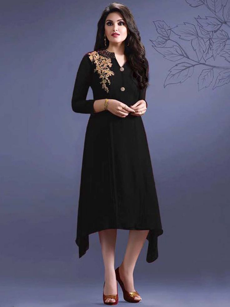 Spectacular georgette kurti in black color prettified with pleat work. Item code: KANB33454B http://www.bharatplaza.com/new-arrivals/kurtis.html