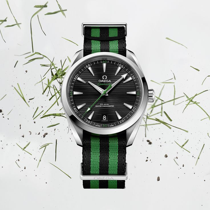 """#OMEGAGolf / #PGAChamp The new 41mm Seamaster Aqua Terra """"Golf"""" collection - presented on NATO straps, to keep the watch firmly on the wrist through the biggest swings. (link in profile) #omega #omegawatches #watch #watches #seamaster #aquaterra #golf #aquaterragolf  #natostrap #natostraps #natobracelet #natobracelets #nato #green #orange #golfball #pga #pgaofamerica #whatsonmywrist #womw #watchesofinstagram #watchfam #watchoftheday"""