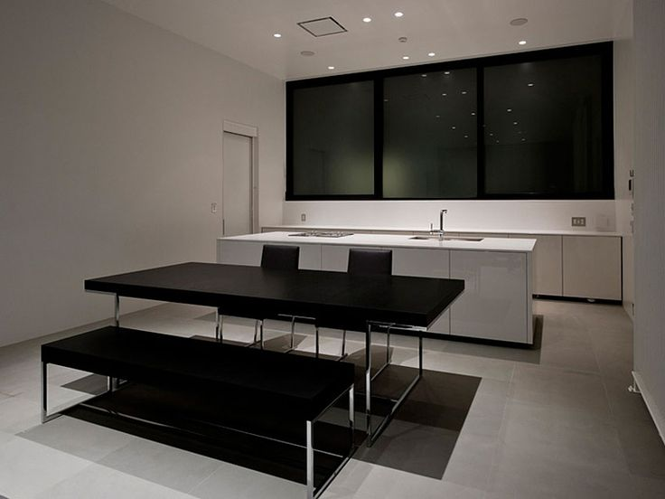 Architecture, Open White Kitchen And And Elegant Dining Table Set With Bench With Wooden Chairs Combine Black Chair Cushions In Dining Room To Maximize Interior With Recessed Lamps As Illumination: Contemporary Home Design in a Futuristic Rectangular White Structure