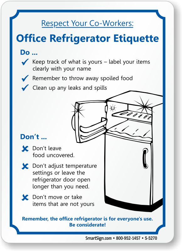 office refrigerator etiquette  fridge cleanup sign  sku  s