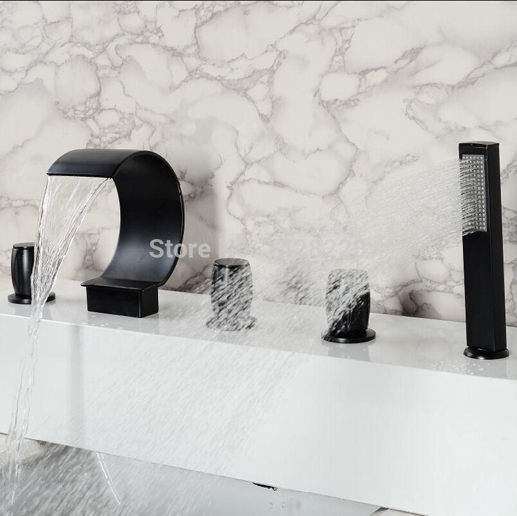 Бортике Масло Втирают Бронзовый Водопад Ванной Ванна Смеситель Кран с Ручным Душем 5 шт.