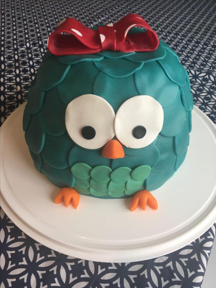 Owl cake, cake for 2-year old girl, animal cake, cute cake, easy
