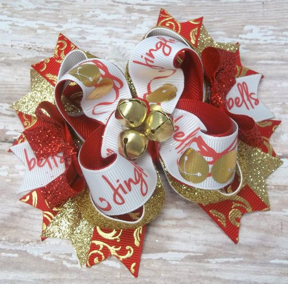 Christmas Hair Bows, Girls Hair Bows, Jingle Bells Christmas Hair Bow OTT Red by JustinesBoutiqueBows