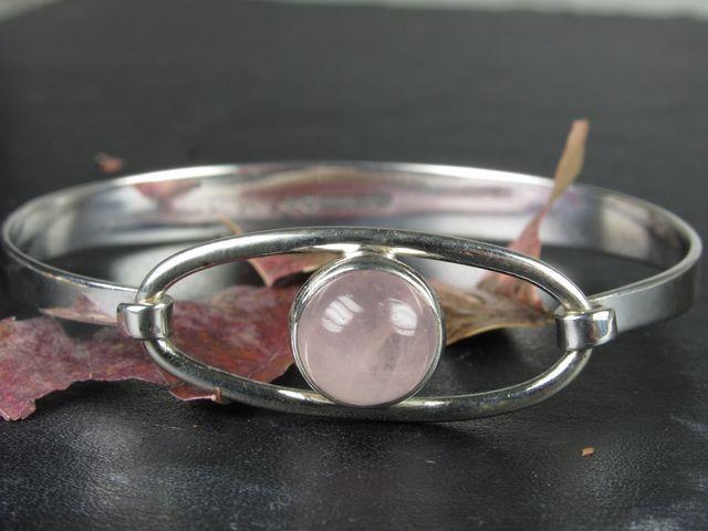 Erik Granit, Vintage sterling silver bracelet with rose quartz, 1960s. #Finland