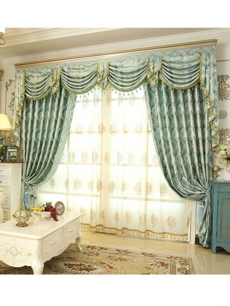 Helen Curtain Luxury Europe Style Curtains With Valance Jacquard Curtains  For Living Room Modern Window Curtain For Bedroom