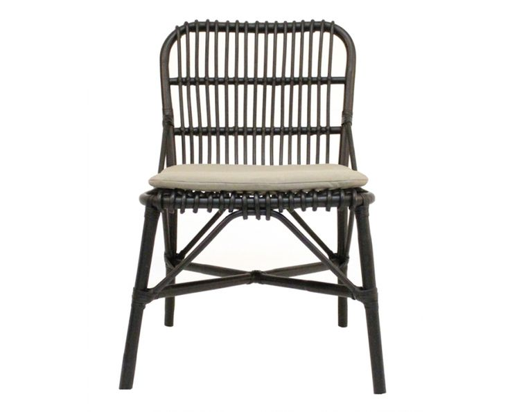 Cafe Rattan Chair with Cushion (Black) - Outdoor Furniture | Weylandts South Africa