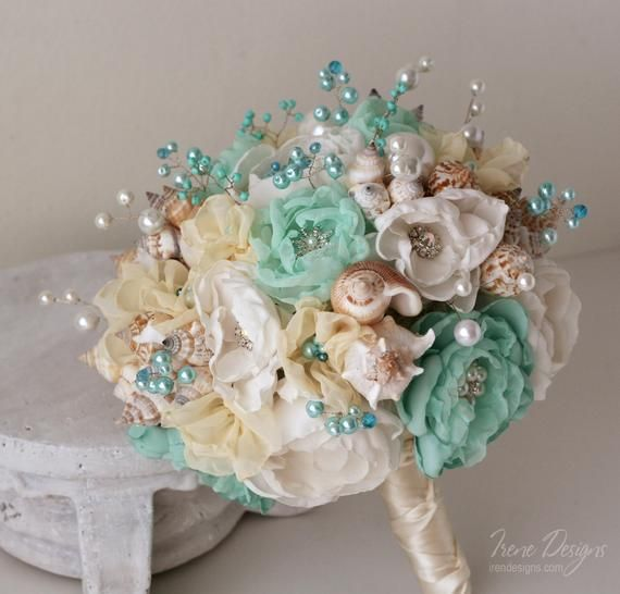 Bouquet Sposa Spiaggia.Conchiglie Bouquet Di Nozze Bouquet Di Nozze In Turchese E Avorio