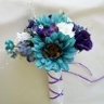 Teal Daisies, White roses, Purple roses Bridal Bouquet. Really really really love this, looks beautiful
