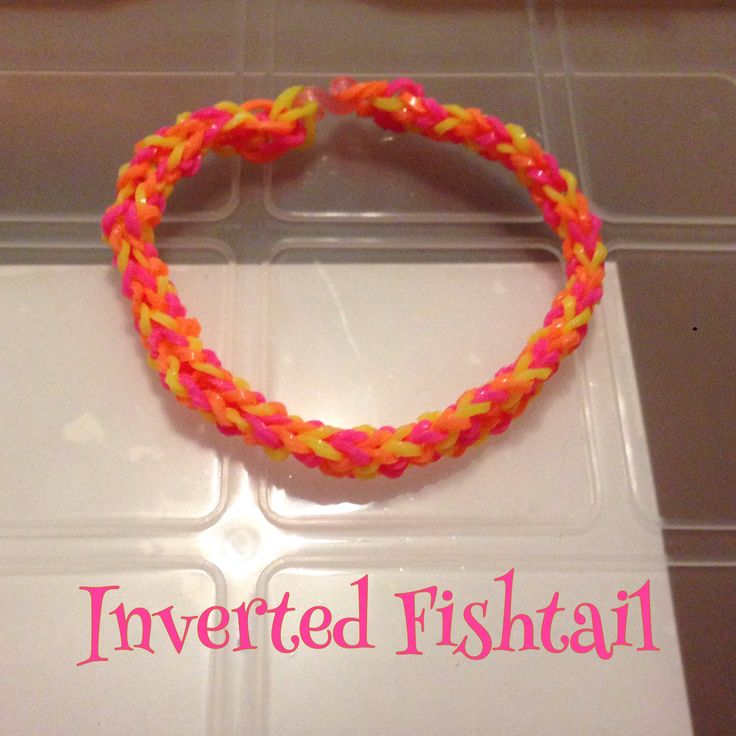 Neon pink, yellow & orange Inverted Fishtail bracelet, made by hand