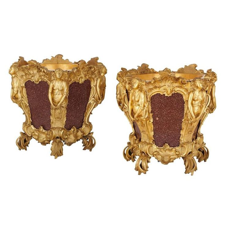 Pair of gilt bronze and porphyry antique French jardinières