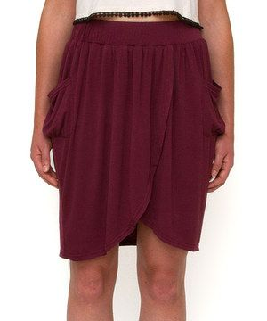Another great find on #zulily! Mia Melon Prune Mercado Ruched Skirt by Mia Melon #zulilyfinds