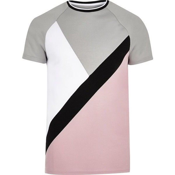 River Island Pink and grey slim fit T-shirt ($23) ❤ liked on Polyvore featuring men's fashion, men's clothing, men's shirts, men's t-shirts, mens tall slim fit shirts, mens slim t shirts, mens slim shirts, men's color block shirt and mens short sleeve t shirts