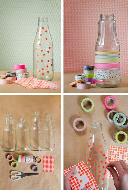Washi Glass Jars {charlotterivers}. Wasabi tape of etiketjes op fles: leuk om samen te #knutselen