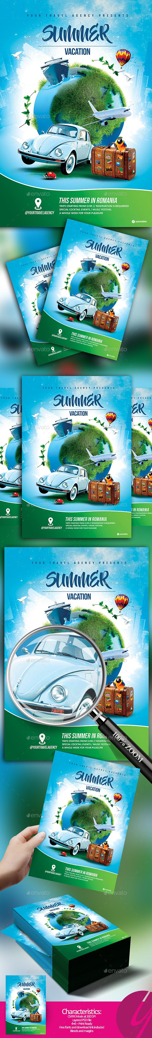 Summer Vacation Travel Flyer — Photoshop PSD #safari #europe • Download ➝ https://graphicriver.net/item/summer-vacation-travel-flyer/19686665?ref=pxcr