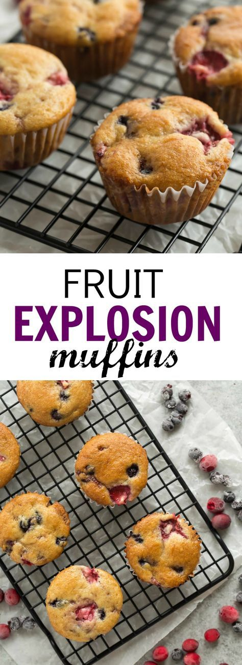 These Fruit Explosion Muffins are loaded with strawberries and blueberries (or any berries you want!) and have a strawberry jam surprise inside! They are made with whole wheat flour and sour cream makes them extra moist. | baking | muffin recipes | baking recipes | berries | strawberry recipes | easy recipe