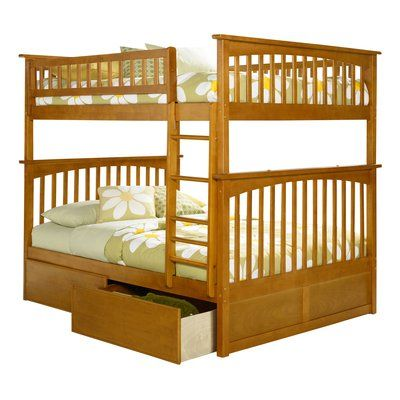 Harriet Bee Abel Full Over Full Bunk Bed with Drawers Bed Frame Color: Caramel Latte