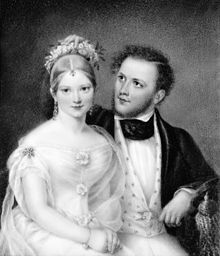 Ann Hall, Mr. and Mrs. Samuel Ward (Emily Astor), 1837. Miniature on ivory, 5 1/2 x 4 1/2 in. Private collection, Barrytown, New York