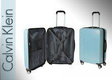 Calvin Klein kék, merev falú, gurulós bőrönd 4 kerékkel, teleszkópos nyéllel, két méretben