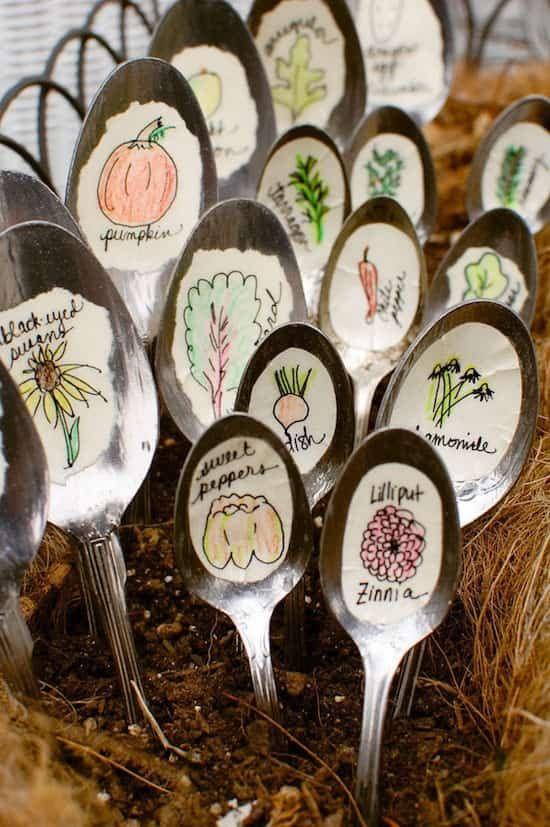 marqueurs de jardin à cuillère