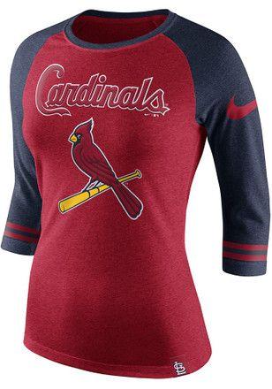 Nike STL Cardinals Womens Triblend Raglan Red T-Shirt