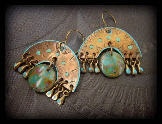 S.A.L.E.Brass Gypsy South West Beaded Earrings by YuccaBloom, $33.00