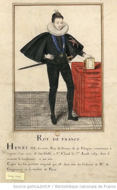 [Portrait de prince en pied. Il porte un costume noir, le collier de l'Ordre du Saint-Esprit et une large fraise] : [dessin] - Henri III