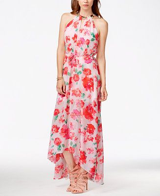 Guess floral print necklace maxi dress dresses women for Guess dresses for wedding