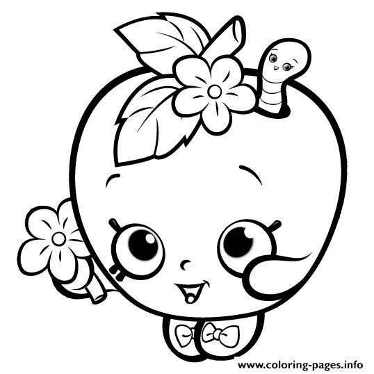 Lovely Shopkins Apple Smile Cute Girls Coloring Pages Printable And Coloring Book  To Print For Free. Find More Coloring Pages Online For Kids And Adults Of  ...