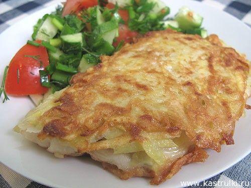 Рыба в картофельной корочке------------- 4 тушки тилапии (или другой белой рыбы, например, трески, пикшы и т.д.); 2 яйца; 4 картофелины; 2 ст. л. муки + мука для обвалки; подсолнечное масло; соль.