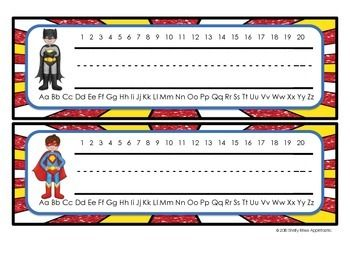 These FREE Superhero Themed Nameplates are perfect for brightening up your elementary classroom!   There are 10 different fun, superhero designs in both print and cursive. Each nameplate has a space for names, an alphabet line, and a number line. Simple, yet effective!
