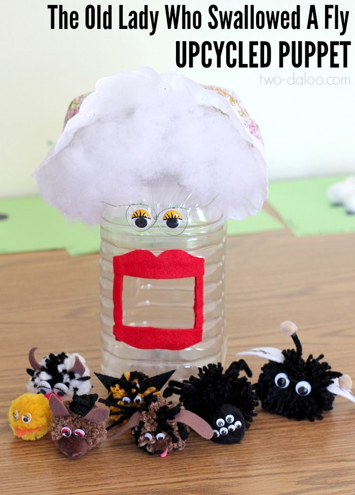 """How to make a puppet for """"the Old Lady Who Swallowed a Fly"""" using an upcycled container- great for developing language and early literacy!"""