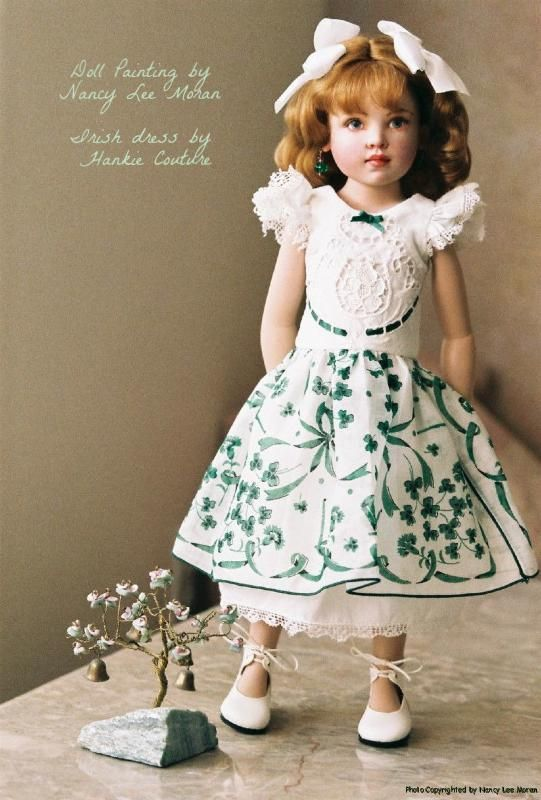 Kish Seasons doll painted as Irish lass Colleen, repainted by portrait artist Nancy Lee Moran in 2009, new custom Irish shamrock vintage hanky dress by Hankie Couture