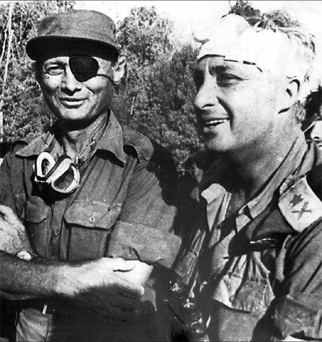 Moshe Dayan and Ariel Sharon