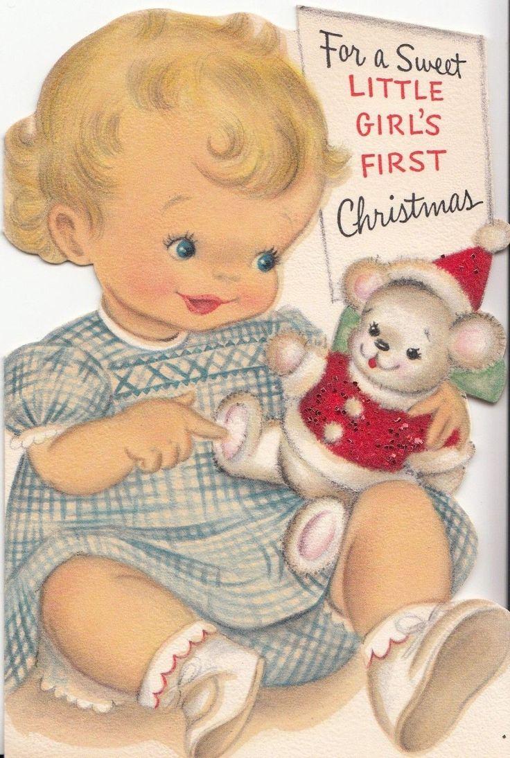 Unused, Cute Little Baby Girl & Teddy Bear, Vintage Christmas Glittered Card! | eBay