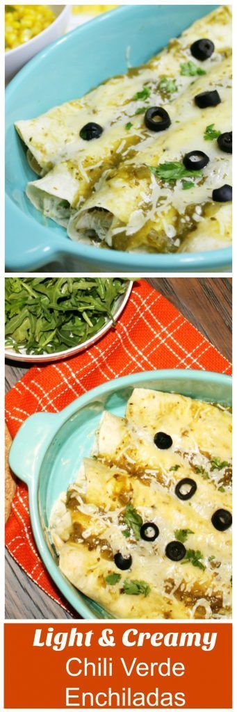 Light & creamy chili verde enchiladas recipe. Easy weeknight idea and so good!  #enchiladas #verde #dinner #recipe #recipes
