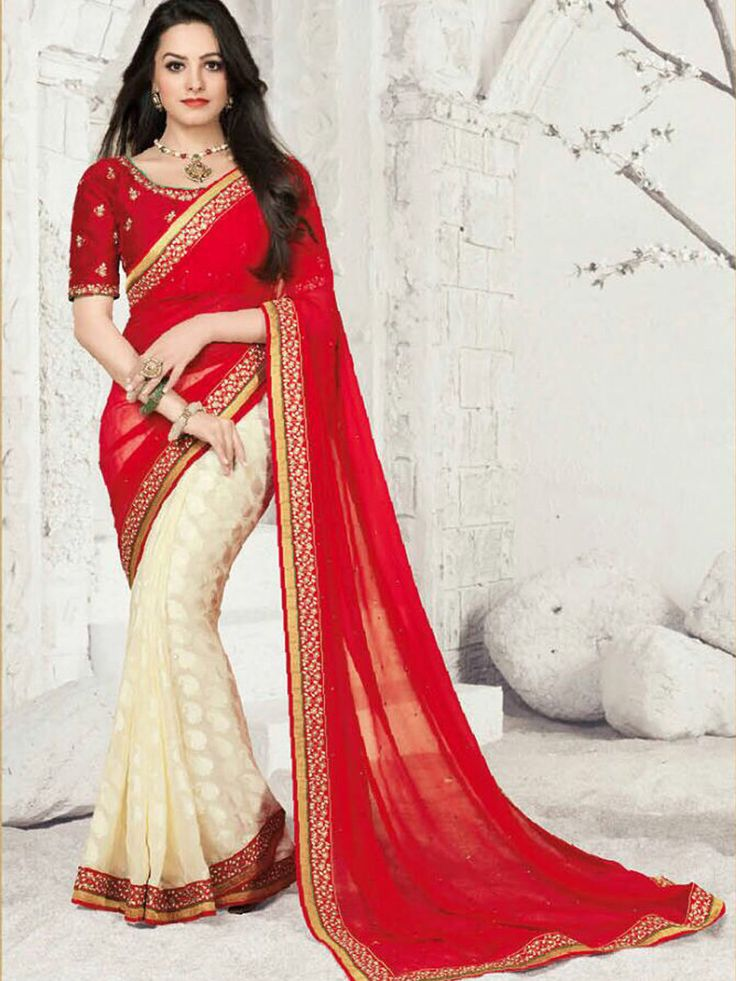 Embrace festive mood draping this Faux Georgette and Faux Georgette Brasso Half and Half Saree. The gorgeous ensemble in Red and Off White is beautified with Stone Work on pallu - See more at: http://www.akalors.in/Sarees/Red-Faux-Georgette-Brasso-half-and-half-Saree-with-Blouse-id-1800056.html#sthash.GzsLl1MC.dpuf